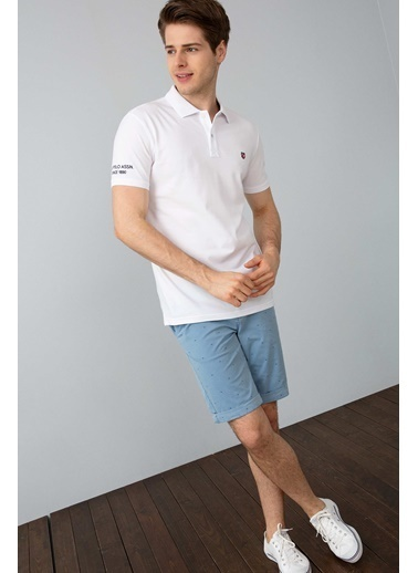 U.S. Polo Assn. Slim Fit Polo Yaka Tişört Beyaz